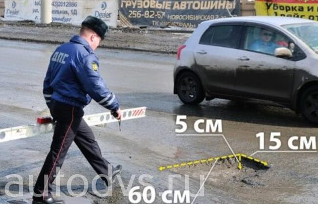 Измерение ямы при дтп