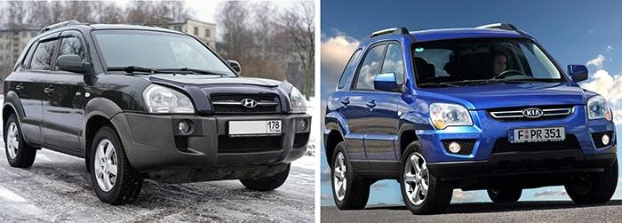 Hyundai Tucson 1 и Kia Sportage 2