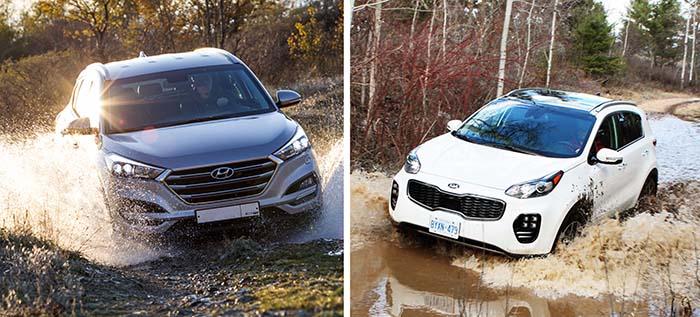 Hyundai Tucson и Kia Sportage на бездорожье